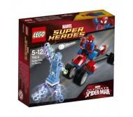 Мощный трехколесный байк Человека-Паука в борьбе с Электро от LEGO