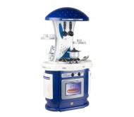 Синяя кухня с посудомоечной машиной и  утюгом