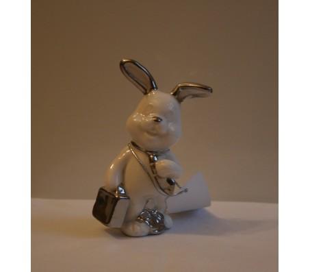 Сувенир зайчик бело-платиновый 10,5смКролики, зайчики, котики (брелки, копилки, магниты)