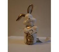 Сувенир зайчик бело-золотой 14,5см