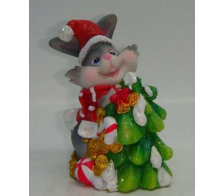 Копилка новогодний зайчикКролики, зайчики, котики (брелки, копилки, магниты)