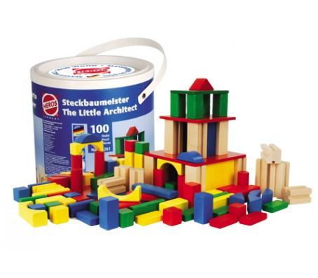 Кубики деревянные 100 штук Маленький архитекторКонструкторы, детские кубики Heros