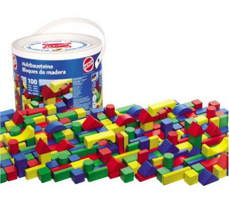 Кубики деревянные цветные 100 штукКонструкторы, детские кубики Heros