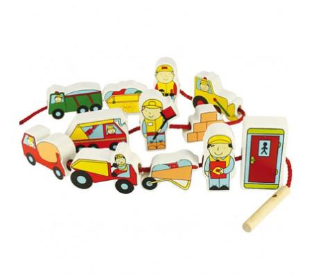Набор бусинок Стройка Wooden ToysШнуровки и сортеры